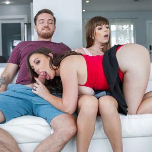 Melanie sucks Kyle's cock while Alex checks out her ass