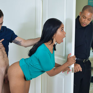 Jenna Foxx on white cock almost busted