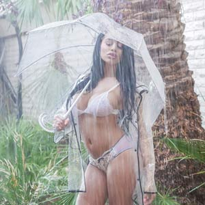 Victoria June outdoors in rain