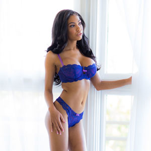 Shay Evans in blue lingerie